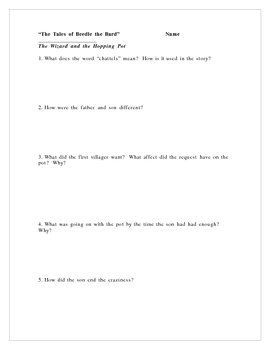 """""""The Tales of Beedle the Bard"""" Comprehension Questions/Projects"""