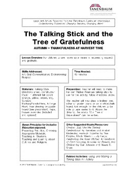 The Talking Stick and the Tree of Gratefulness: Thankfulness at Harvest Time