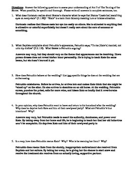 The Taming of the Shrew Act 3 Multiple Choice and Short Answer Quiz