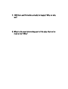 The Taming of the Shrew Act II Reflection Questions