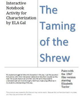 The Taming of the Shrew-Interactive Notebook Characterizat
