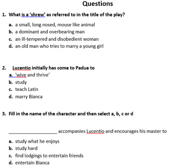 The Taming of the Shrew Quiz