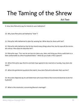 The Taming of the Shrew by William Shakespeare: Complete Study Unit