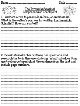 """""""The Tarantula Scientist"""" Comprehension Checkpoint Lessons 5 - 8"""
