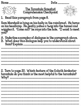 """""""The Tarantula Scientist"""" Comprehension Checkpoint Lessons 1 - 4"""