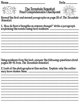 The Tarantula Scientist Final Comprehension Checkpoint