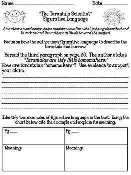 """The Tarantula Scientist"" Reading Analysis Lessons 1 - 4"