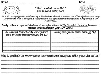 """The Tarantula Scientist"" Reading Analysis Lessons 5 - 7"