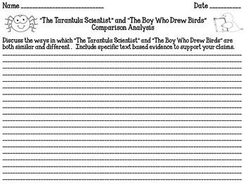 """The Tarantula Scientist"" & ""The Boy Who Drew Birds"" Comparison Analysis L 13"