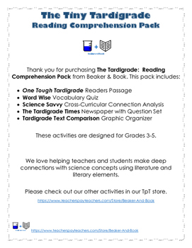 The Tardigrade: Reading Comprehension Pack