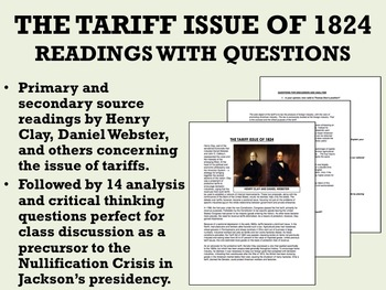 The Tariff Issue of 1824 Reading with Questions - USH/APUSH