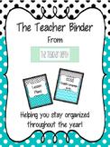 The Teacher Binder - Aqua and Gray Theme