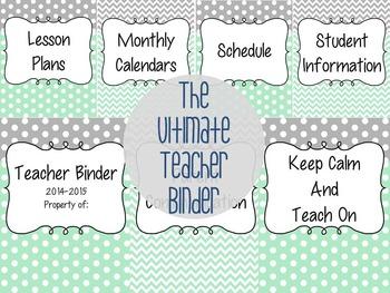 The Teacher Binder - Mint & Gray Theme