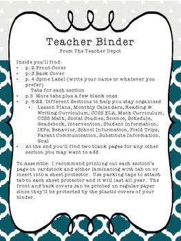 The Teacher Binder - Teal & Gray Theme