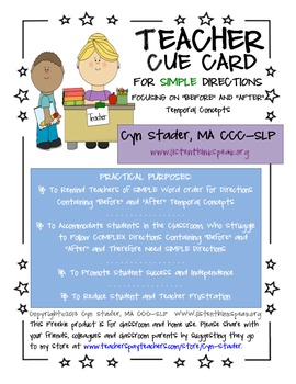 The Teacher Cue Card for Simple Directions