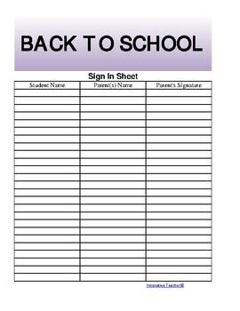 The teacher 39 s ultimate sign in sheet free by innovative for Back to school sign in sheet template