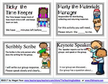 The Teaching Goddess' Group Collaboration Task Cards w/Sentence Stems