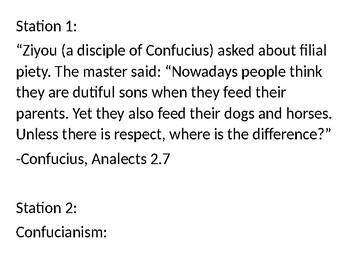 The Teaching of Confucius Gallery Walk Analysis