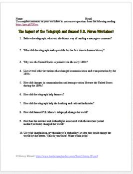 The Telegraph and Samuel F.B. Morse Worksheet