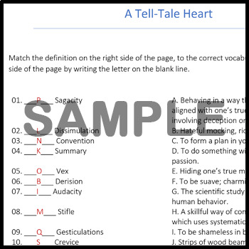 The Tell-Tale Heart - Alternative Assignments: Crossword, Vocab Assignment, & +