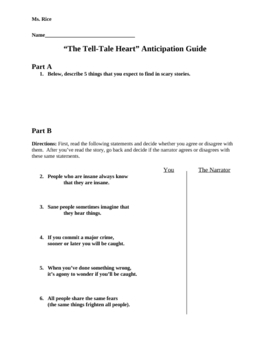 The Tell Tale Heart Anticipation Guide