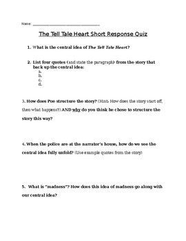 The Tell Tale Heart: Short Answer Quiz