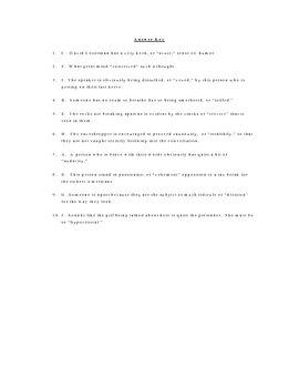 The Tell Tale Heart Vocabulary Quiz Worksheet