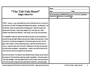 The Tell-Tale Heart, Edgar Allan Poe Annotation Organizer