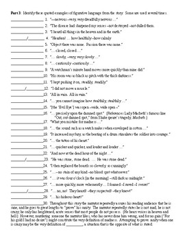 The Tell-Tale Heart by Edgar Allan Poe Figurative Language Worksheet and KEY