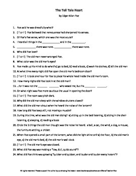 The Tell Tale Heart by Edgar Allan Poe Guided Reading Worksheet & Vocab Puzzles