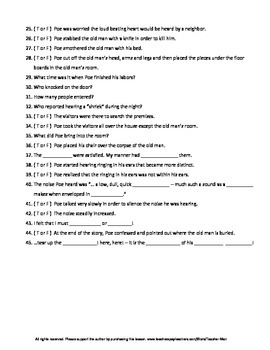 Tell Tale Heart Story, Worksheet and Answer Key