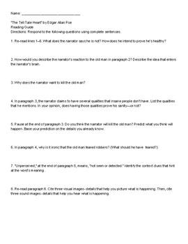 The Tell Tale Heart by Edgar Allan Poe Study Guide w/ Key