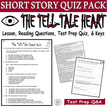 The Tell-Tale Heart Short Story by Poe: Common Core ELA Test Prep Quiz