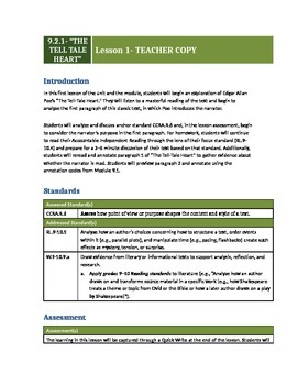 """""""The Tell Tale Heart"""" Grade 9 Module 2 Lesson 1 Engage NY (9.2.1)"""