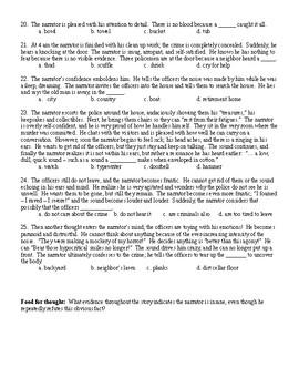 The Tell Tale Heart by Edgar Allan Poe Multiple Choice Quiz and KEY