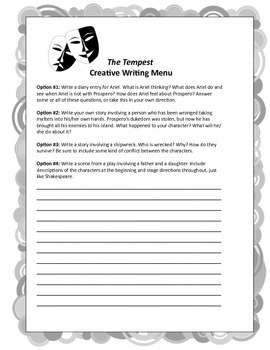 The Tempest: 4 Creative Writing Prompts, High School ELA