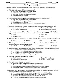 The Tempest 50-Question Multiple Choice Quiz Bundle or Test