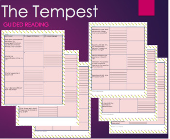 The Tempest Act 1-2 Standards Based Guided Reading Questions Graphic Organizer