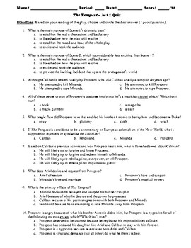 The Tempest Act 1 Multiple Choice and Short Answer Quiz
