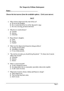 The Tempest Act 2 - Multiple Choice Quiz