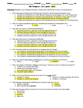 The Tempest Act 4 Multiple Choice and Short Answer Quiz