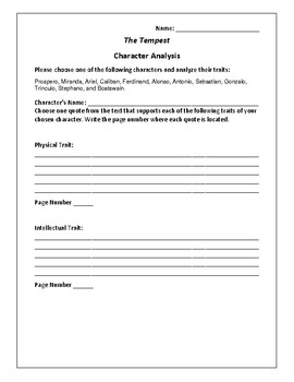 The Tempest Character Analysis Activity - William Shakespeare