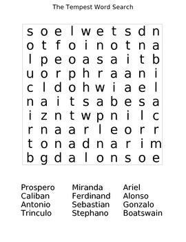 The Tempest Character Word Search