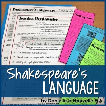 Shakespeare's Language Worksheets and Bookmarks - Shakespeare in 30