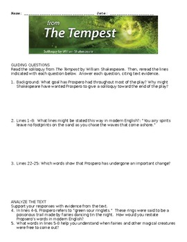 The Tempest Comprehensive Study Guide