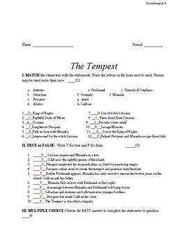 The Tempest Final Exam