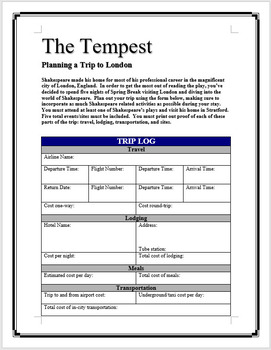 The Tempest - Planning a trip to London
