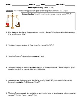 The Tempest Study Guide Packet