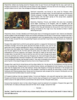 The Tempest - The Story - Reading Comprehension Worksheet