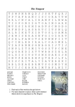 The Tempest - Word Search